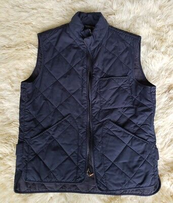 J.Crew Size M Sussex Quilted Vest Navy Blue Outerwear Warm Thermal Insulation