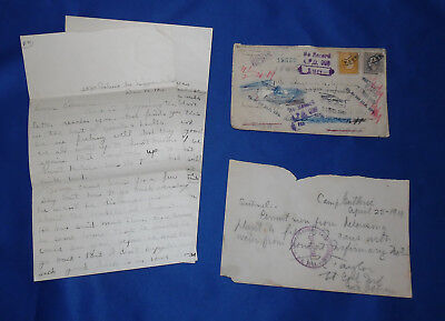 vtg 1918 WWI World War I Army Letter & Delousing Permit Form Paper Military Lot