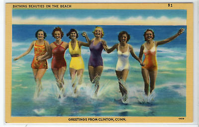 Bathing Beauties on the Beach Clinton CT vintage linen postcard Swimsuits