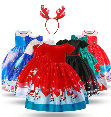 Christmas Children Girls Baby Holiday Dress Birthday Princess Party Dress ZG8
