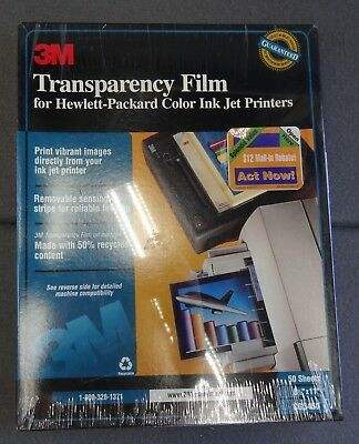 NEW 3M Transparency Film HP Color Ink Jet Printer 50 Sheet CG3460 8.5x11 Sealed