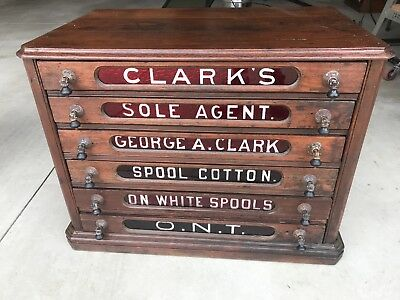 Antique Clark's Red Glass Spool Cotton 6 Drawer Walnut Spool Cabinet