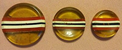 Rare Vintage Bakelite Buttons Set of 3 Red White & Blue