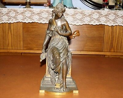 """Antique Bronze Figure Sculptural Grecian Lady Partial Nude Holding Lamp 13"""" Tall"""