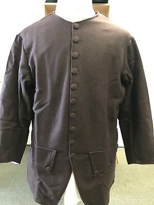 """Mid-18th Century, Rev War Man's Frock Coat, BROWN WOOL, 48""""+ chest, NEW"""