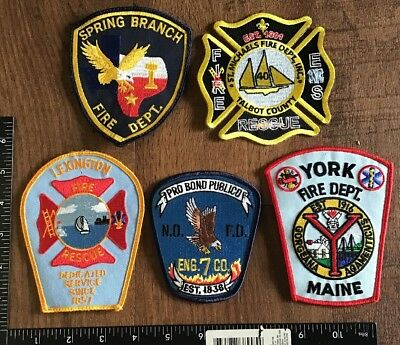 Mixed Lot of 5 Fire Department Patches Firefighter Rescue EMS #2 MA TX ME LA