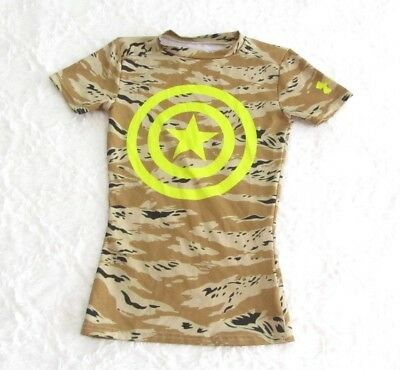 Under Armour Camo Captain America Fitted Boys Short Sleeve Athletic Shirt XS 4-5
