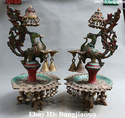 "16"" Chinese Bronze Turquoise Coral Gem Dragon Phoenix Oil lamp oil-lamp Pair"