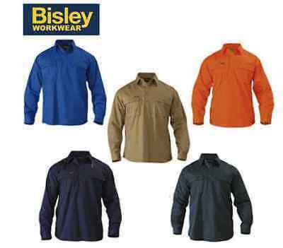NEW! Bisley Mens Closed Front Cotton Drill Work Shirt LONG SLEEVE BSC6433