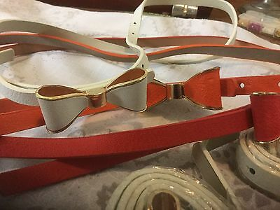 8 X Leather Belts With Steel Bows Medium  1 Red 2 Orange 5 White Ideal 4 Resale