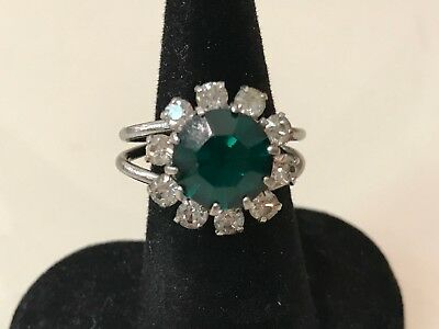 Vintage Costume Jewelry - Green Color Ring with Rhinestones and Flexible Band