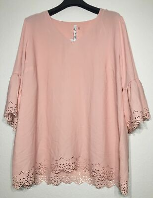 c675e7a9e92273 NY Collection Womens Plus Size 2X Blouse Pink 3/4 Bell Sleeve MSRP $49