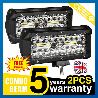 2x7inch 400W LED Work Driving Light Bar Cree COMBO beam Lamp Reverse Offroad 4x4