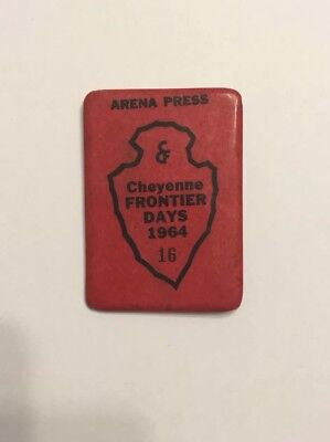 1964 Cheyenne Frontier Days ARENA PRESS PASS Rodeo Denver Post Wyoming Badge Pin