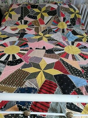 Vintage Unusual Hand Sewn Hand Embroidered Dresden Plate/Star Quilt Top