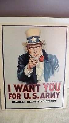VTG 1968 Uncle Sam Poster Original I Want You 11 X14 Military Sign UNIONTOWN PA.