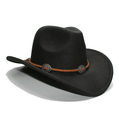 Cute Young Boys Girls Autumn Winter Wool Western Cowboy Hat Child Wide Brim Cap