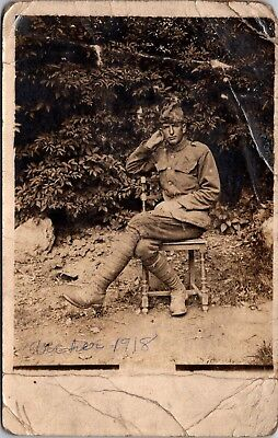 """Old Postcard Military Man """"Archer"""" Posing 1918 Antique Real Photo RPCC"""