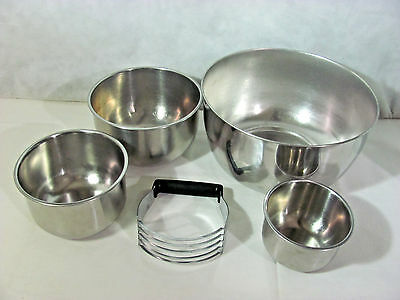 Vintage Set of 4 Stainless Steel Mixing Bowls and EKCO Pastry/Dough Blender