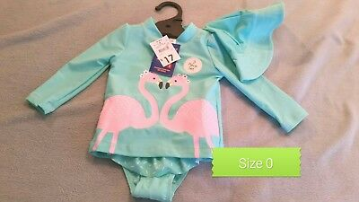 Baby Girl Flamingo Swimmers togs, rashie, hat size 0. 6-12 months New