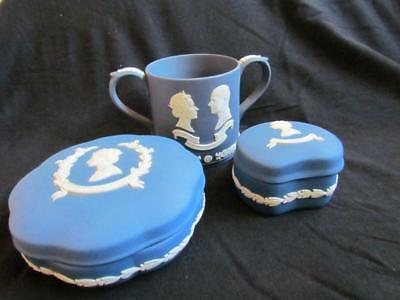 Wedgwood 50th Wedding Anniversary Cup & Silver Jubilee Trinket Boxes
