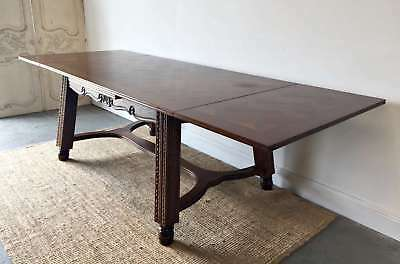 French Vintage Extension Dining Table Large Carved Oak - QN090a