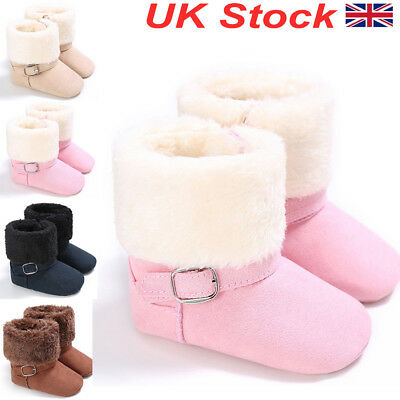 UK Baby Warm Boots Infant Kids Booties Toddler Girls Boys Winter Walking Shoes