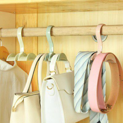 Closet Organizer Rod Hanger Handbag Storage Rotatable Wardrobe Bag Rack  E