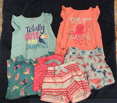 Carters Lot Of 2 3-piece Pajama Sets, 3T Toddler Girls, Toucan And Under The Sea
