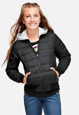 Nwt Justice Girls Black Quilted Hooded Packable Puffer Coat Jacket 6/7