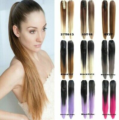 24'' Colorful Ombre Claw Clip in Ponytail Straight Hair Extensions Drawstring