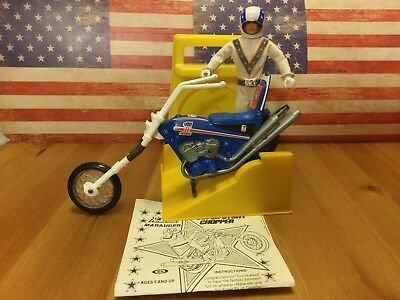 Evel Knievel Stunt Cycle 70s Chopper & Launcher Action Figure Evil Vintage Toys