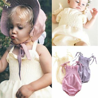 Toddle Summer Clothes Outfits Pure Color Baby Bandage Bodysuit Ruffle  Sunsuit