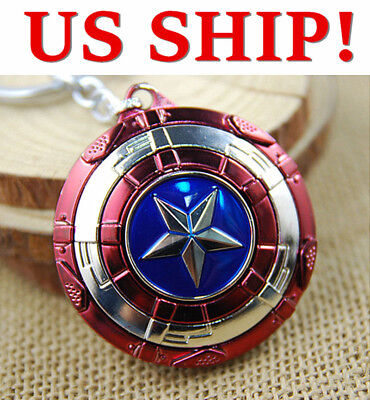US! The Avengers Captain America Shield Keyring Rotatable Star Alloy Keychain