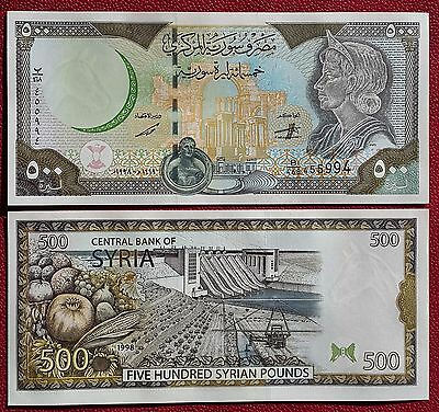 SYRIA 500 pounds 1998 P-110c with a map & 500, UNC