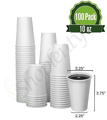 Hot White Paper Coffee Cups [ 10oz - 100 Pack] - Disposable Coffee Cups Ideal