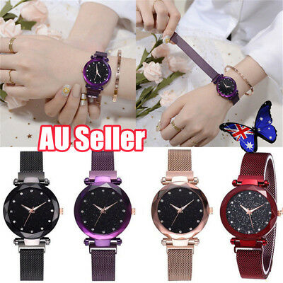 Women Fashion Starry Sky Watch Magnetic Strap Buckle Stainless WristWatch Gift T