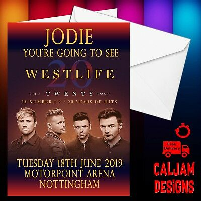 Westlife Concert Gift tour card ticket present. ANY TEXT OR DATE  birthday