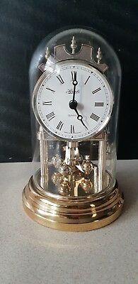 lovely hermle small anniversary clock under  glass dome working takes AA battery