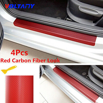 4*Car Door Sill Scuff Welcome Pedal Protect Carbon Fiber Stickers Accessories 3D