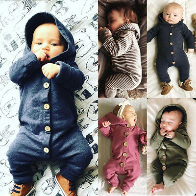 AU Cotton Infant Baby Boy Girl Long Sleeve Hooded Romper Jumpsuit Clothes Outfit