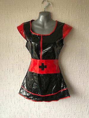 Gothic Black PVC Nurse Outfit with Accessories Fetish Goth Punk 8-10