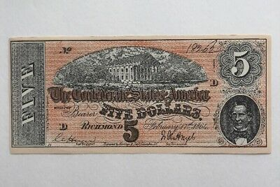 1864 Facsimile of the $5 Five Dollar Confederate States of America Currency Note