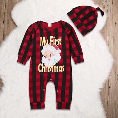 My First Christmas Baby Clothes Santa Romper+Hat Xmas Checked Outfits Babygrows