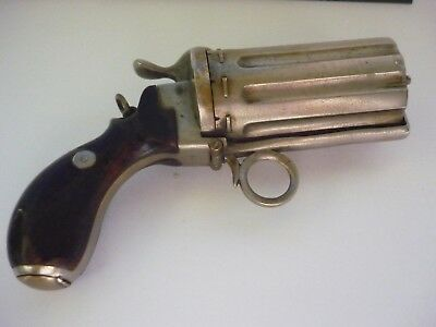 Very Rare Antique Silver Plated  French Revolver Necessaire / Compact - Super !