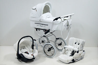 Isabel White Retro Baby Pram Travel System 3in1 With Car Seat Classic Buggy