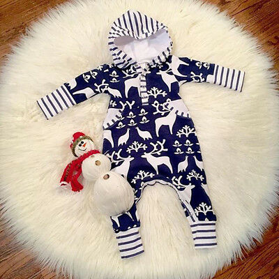 Newborn Baby Boy Girl Cute Hooded Romper Bodysuit Jumpsuit Outfits Clothes USA