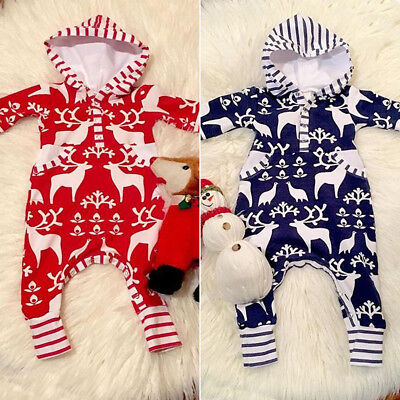 AU Newborn Kids Baby Girl Boy Christmas Hoodies Romper Jumpsuit Outfit Clothes