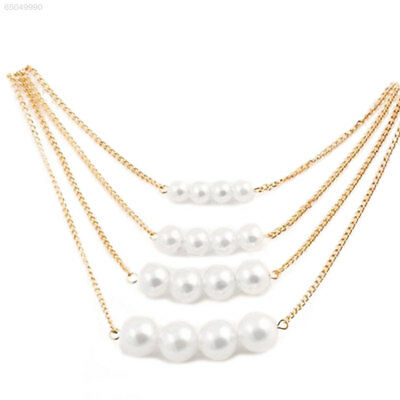 4BB8 Multilayer Simple Pearl Necklace Jewelry For Lady Elegant Fashion Ornament