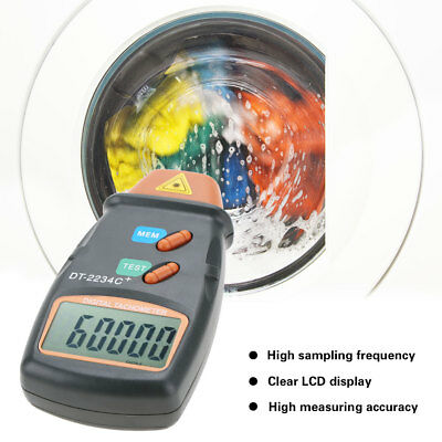 LCD Digital Laser Photo Tachometer Non Contact RPM Meter Speed Gauge DT-2234C+
